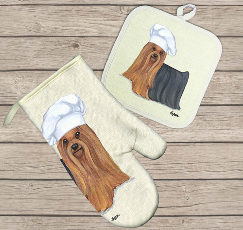 Yorkshire Terrier Oven Mitt and Pot Holder Set
