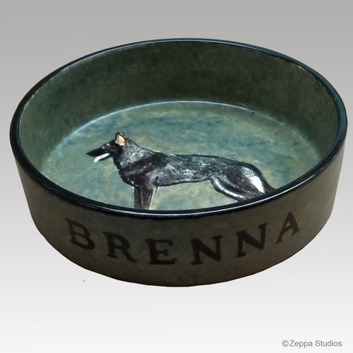 Custom Hand Painted Dog Bowl from Photo - Green