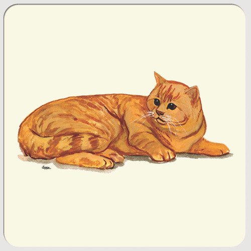 Orange Tabby Cat Beverage Coasters