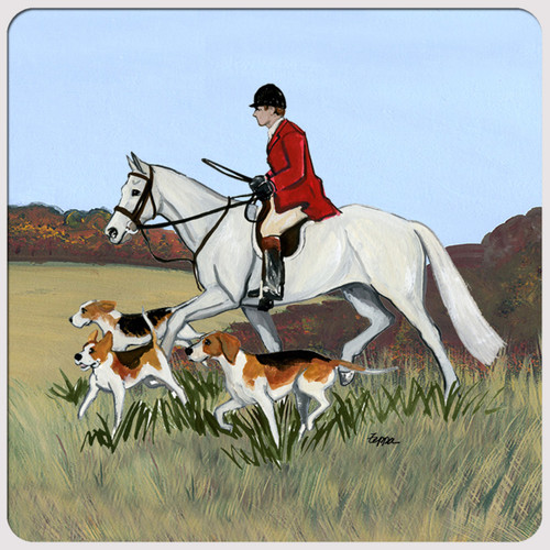 Fox Hunt Scene Scenic Coasters