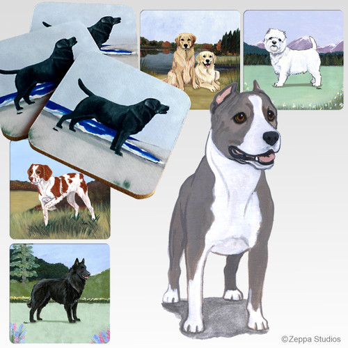 American Staffordshire Terrier Scenic Coasters