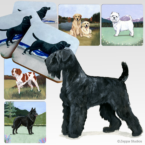 Black Russian Terrier Scenic Coasters
