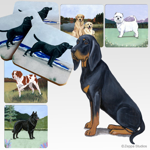 Black n Tan Coonhound Scenic Coasters