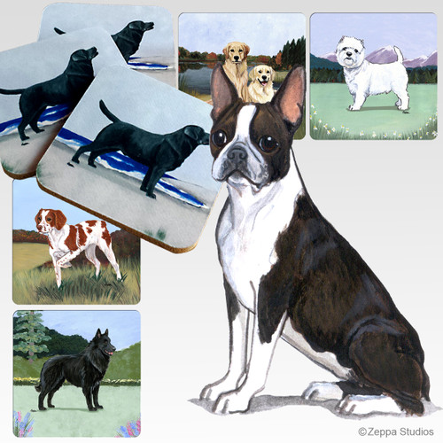 Boston Terrier Scenic Coasters