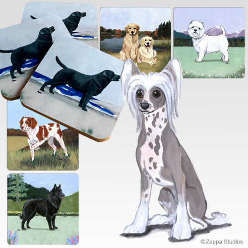 Chinese Crested  Scenic Coasters