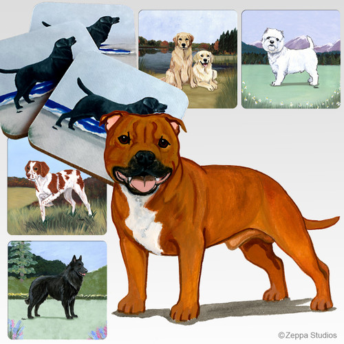English Staffordshire Terrier Scenic Coasters