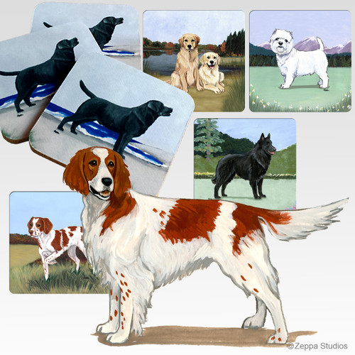 Red & White Irish Setter Scenic Coasters
