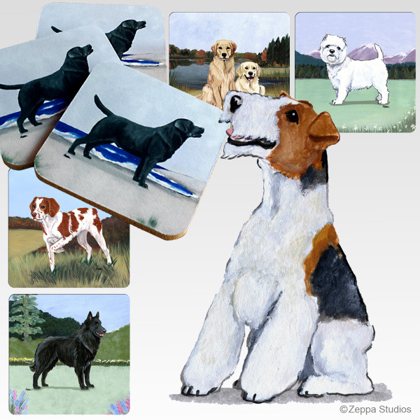Wirehaired Fox Terrier Scenic Coasters