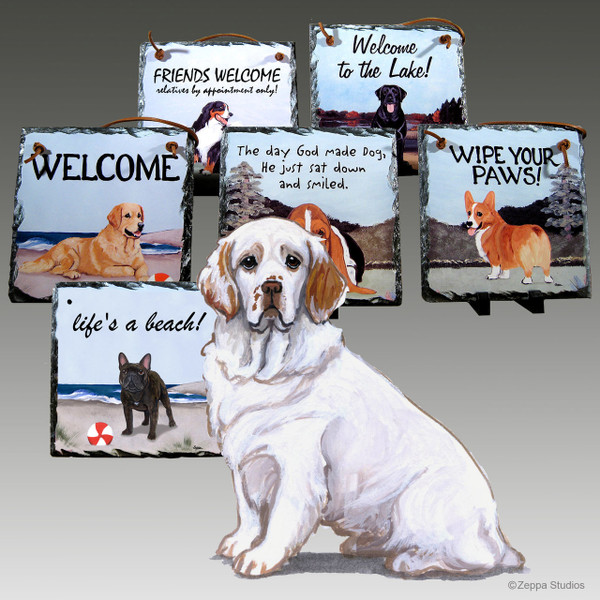 Clumber Spaniel Slate Signs