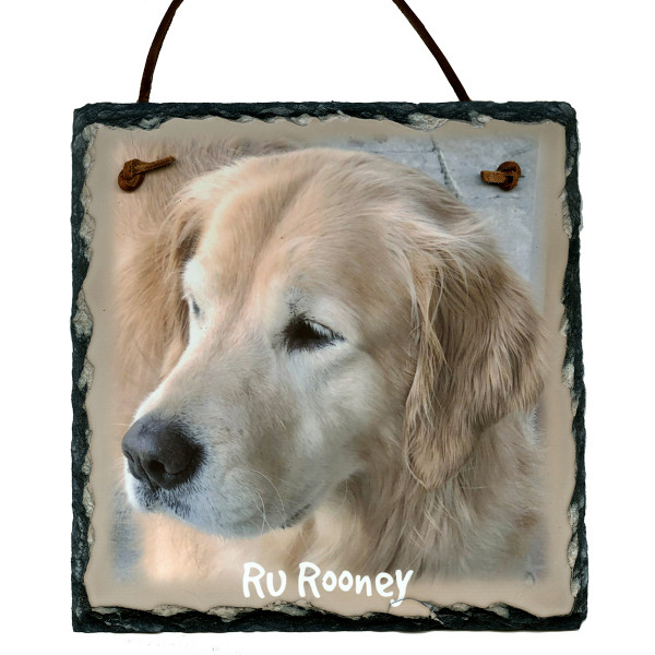 Custom Photo Slate Sign - Golden Retriever Ru