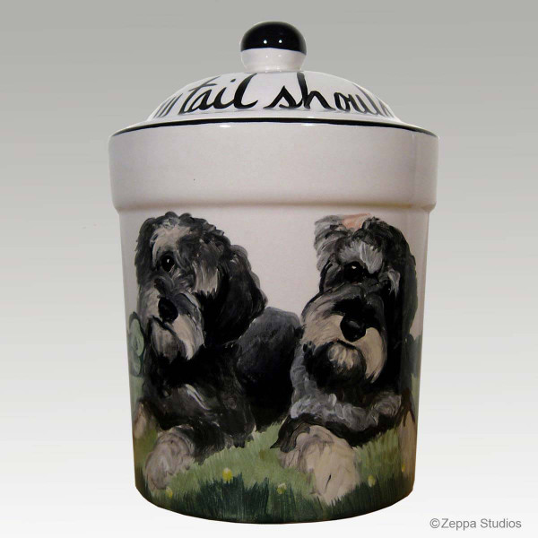 Hand Painted Custom Treat Jar by Zeppa Studios, Two Schnauzers
