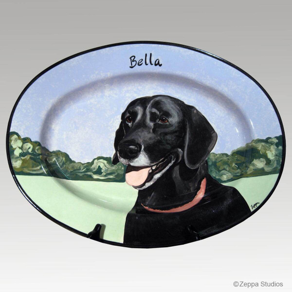 Hand Painted Gallery Style Platter, Pet Portrait of a Labrador