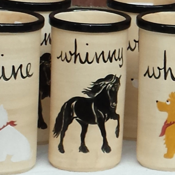 Hand Painted Prancing Friesian Whinny Cooler by Zeppa Studios