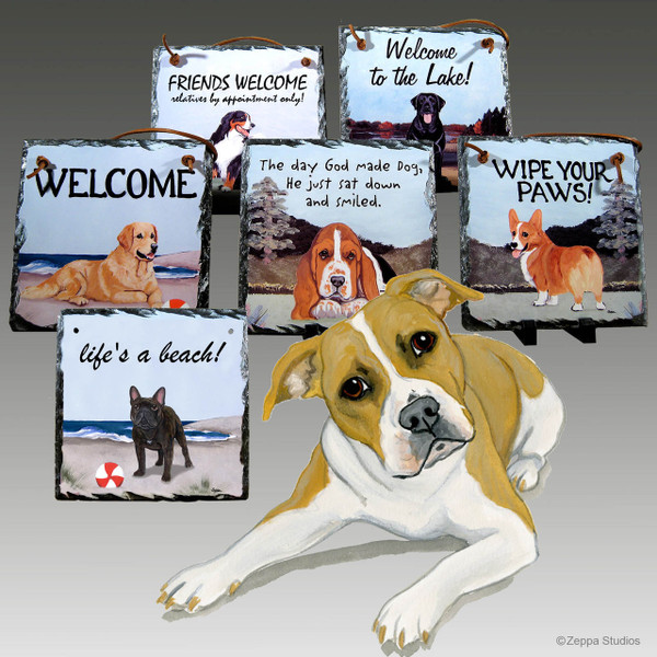 Pit Bull Slate Signs - Wipe Your Paws