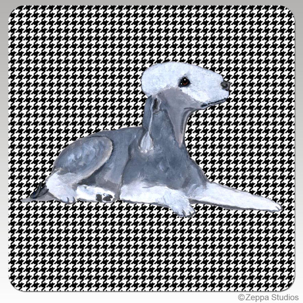 Bedlington Terrier Houndzstooth Coasters