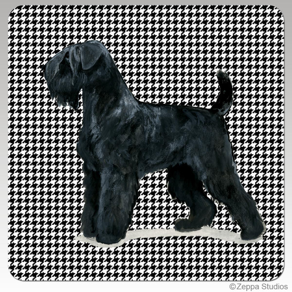 Black Russian Terrier Houndzstooth Coasters