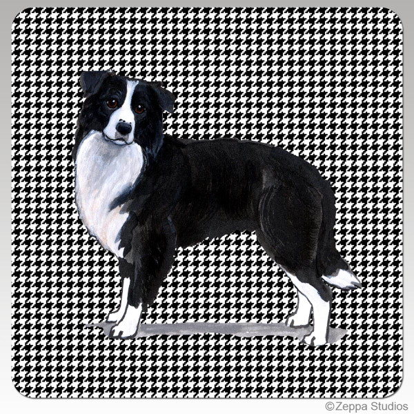 Border Collie Houndsztooth Coasters