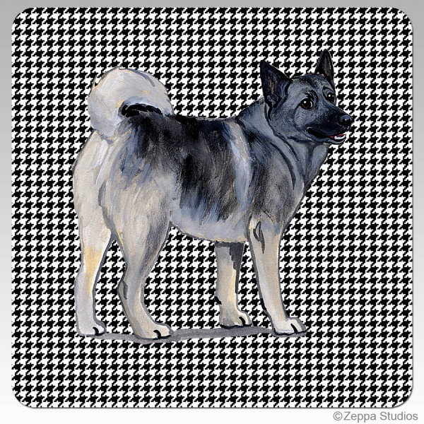 Norwegian Elkhound Houndzstooth Coasters
