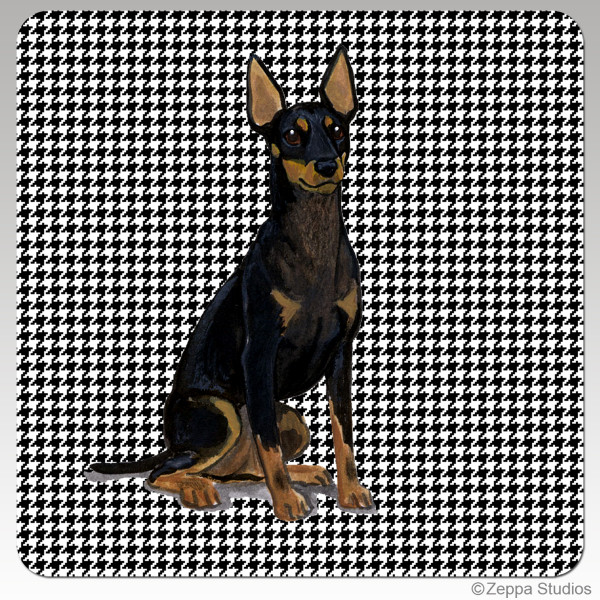 Toy Manchester Terrier Houndzstooth Coasters - Rectangle