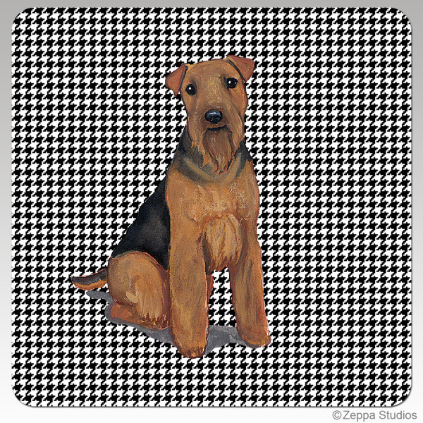 Welsh Terrier Houndzstooth Coasters - Rectangle