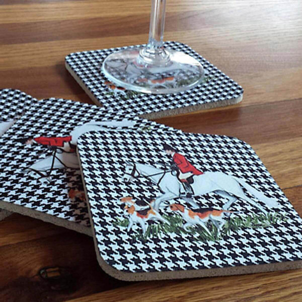 Fox Hunt Scene Houndzstooth Coasters in use