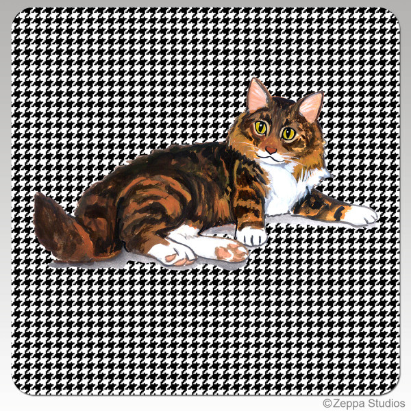 Maine Coon Cat Houndzstooth Coasters
