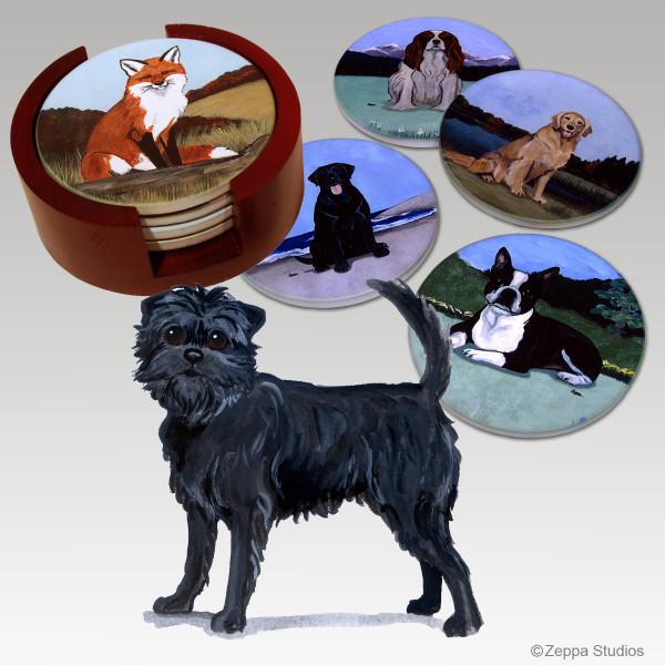 Affenpinscher Bisque Coaster Set