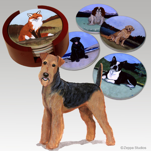 Airedale Bisque Coaster Set