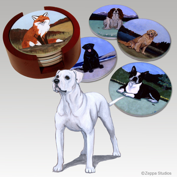 American Bulldog Bisque Coaster Set