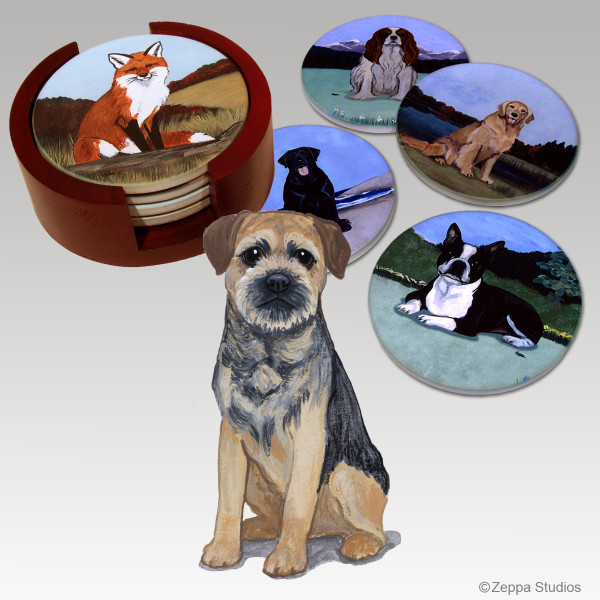 Border Terrier Bisque Coaster Set