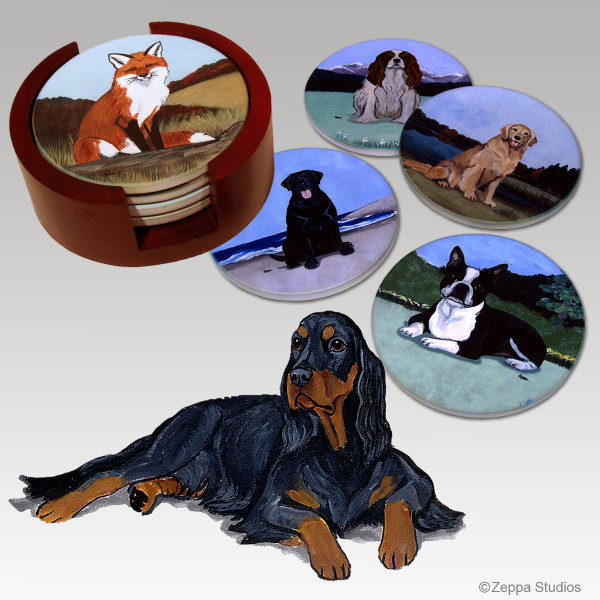 Gordon Setter Bisque Coaster Set