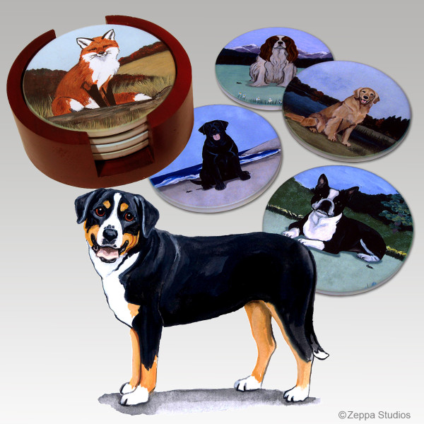 Greater Swiss Mountain Dog Bisque Coaster Set