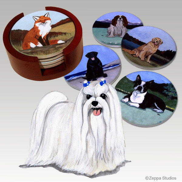 Maltese Bisque Coaster Set