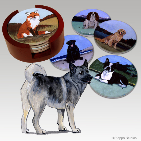 Norwegian Elkhound Bisque Coaster Set