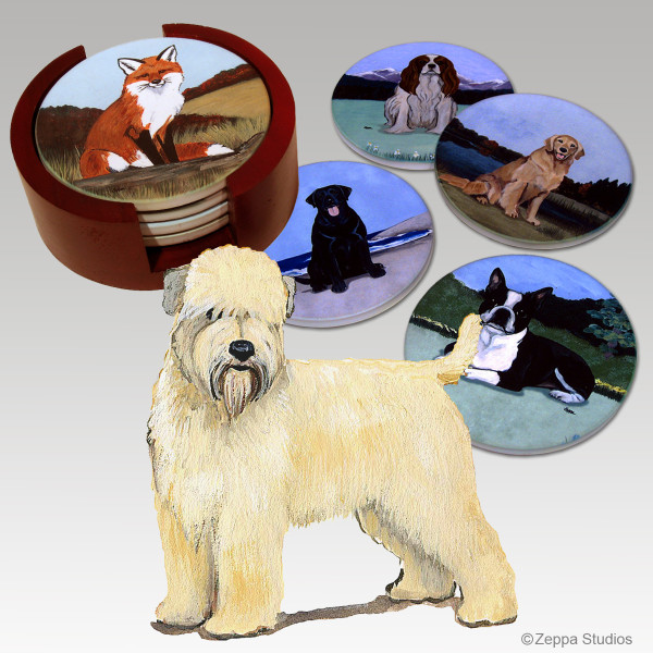 Wheaten Terrier Bisque Coaster Set