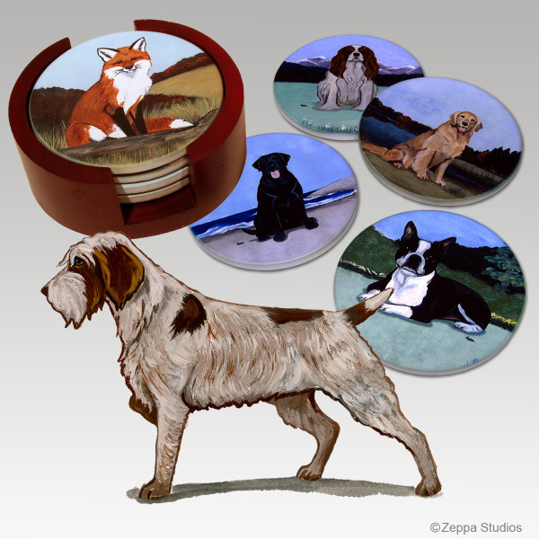 Wirehaired Pointing Griffon Bisque Coaster Set