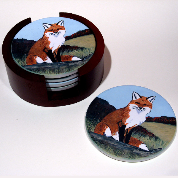 Fox, Sitting Bisque Coaster Set