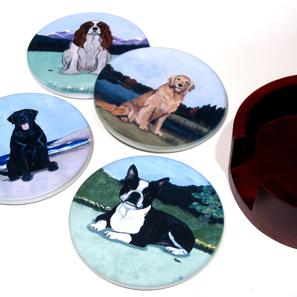 Create your own set of mixed bisque coasters.