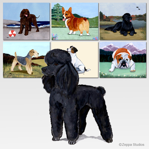 Black Poodle Scenic Mouse Pad