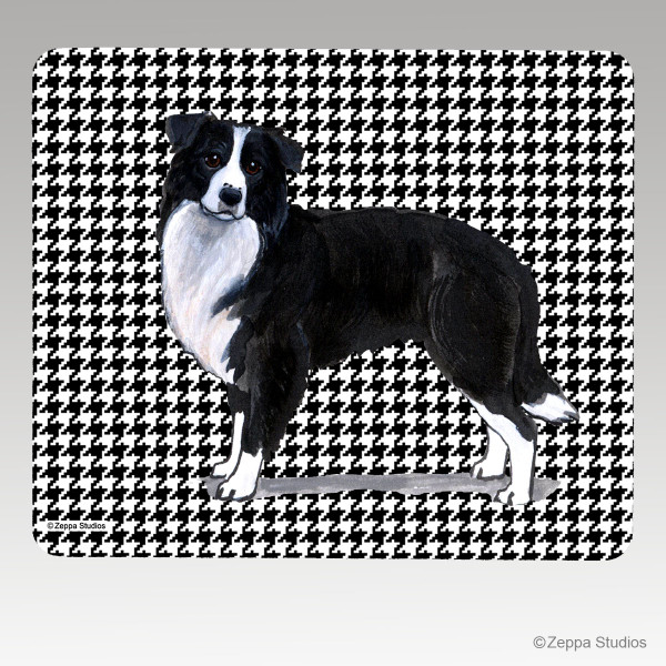 Border Collie Houndstooth Mouse Pad