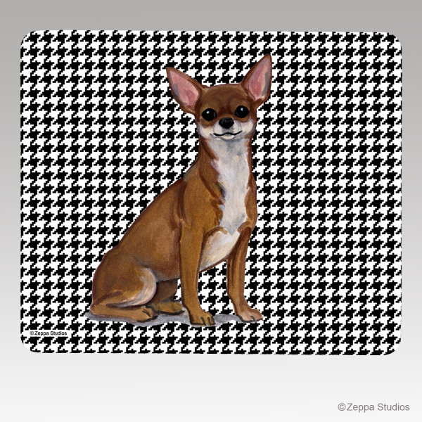 Chihuahua Houndstooth Mouse Pad