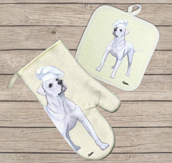 American Bulldog Oven Mitt and Pot Holder Set