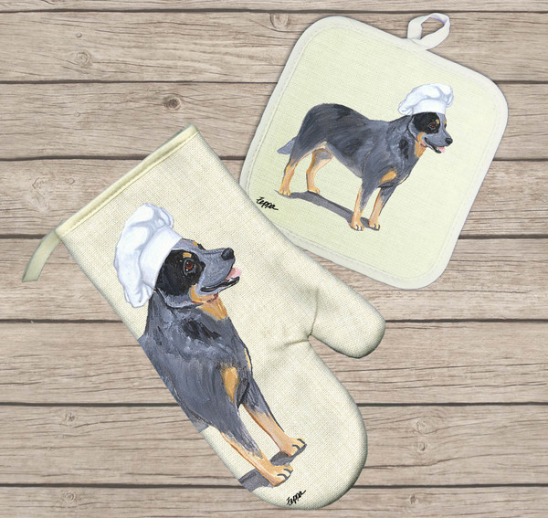 Australian Cattle Dog Oven Mitt and Pot Holder Set