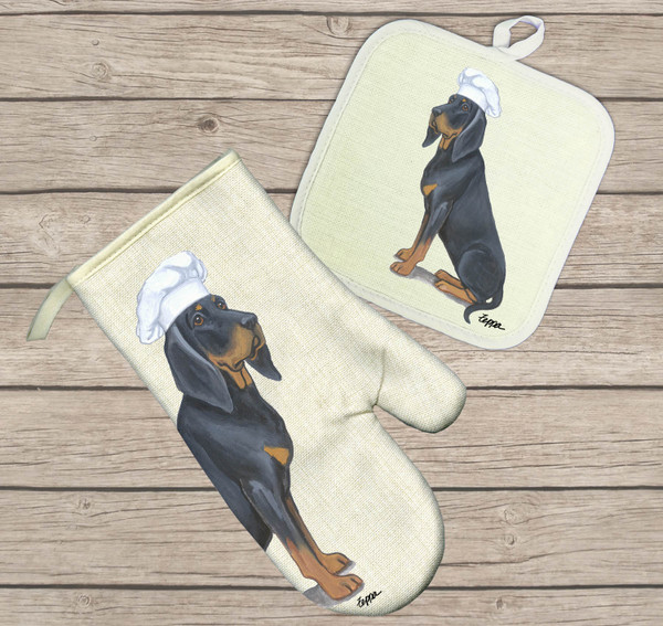 Black and Tan Coonhound Oven Mitt and Pot Holder Set