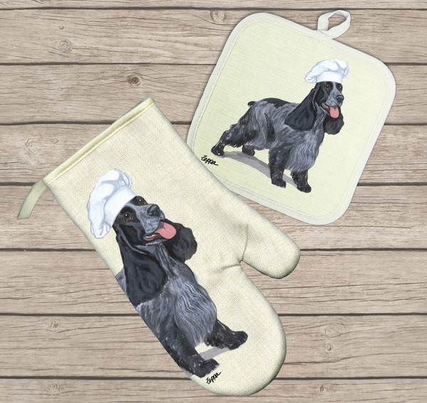 English Cocker Spaniel Oven Mitt and Pot Holder Set