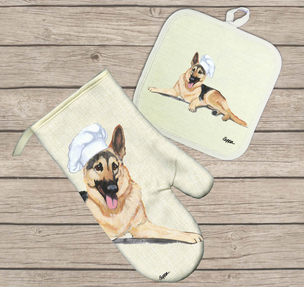 German Shepherd Oven Mitt and Pot Holder
