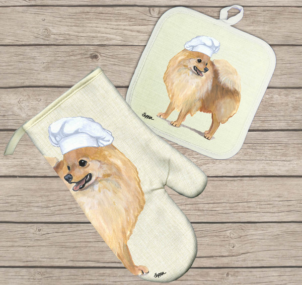 Pomeranian Oven Mitt and Pot Holder Set