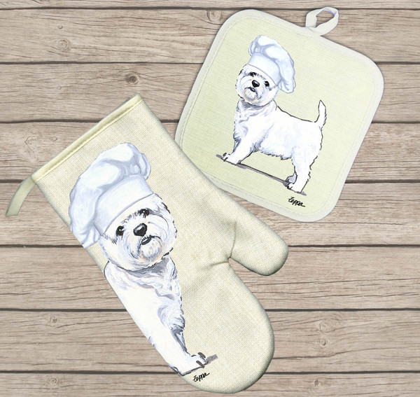 West Highland White Terrier Oven Mitt and Pot Holder Set