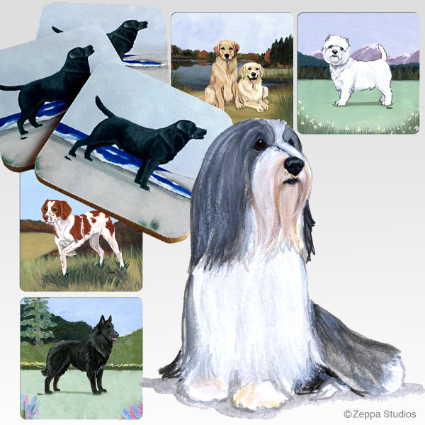 Bearded Collie Scenic Coasters