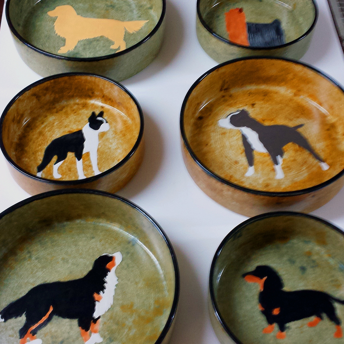Hand Painted Ceramic Dog  Bowls
